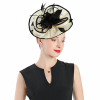 Women Fascinator Church Hat for Weddings Cream colored Linen With Black Feather Flower Cap Tea Party Cocktail Prom Hats