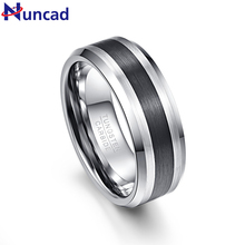 Nuncad Men's 8mm Black Brushed Finish Beveled Tungsten Wedding Rings Comfort Fit Size 7 to 12
