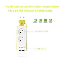 EU Wall Socket EU European Travel Power Strip With USB Power Extension Socket  AC Power Strip For Smart Phone Charger outlet