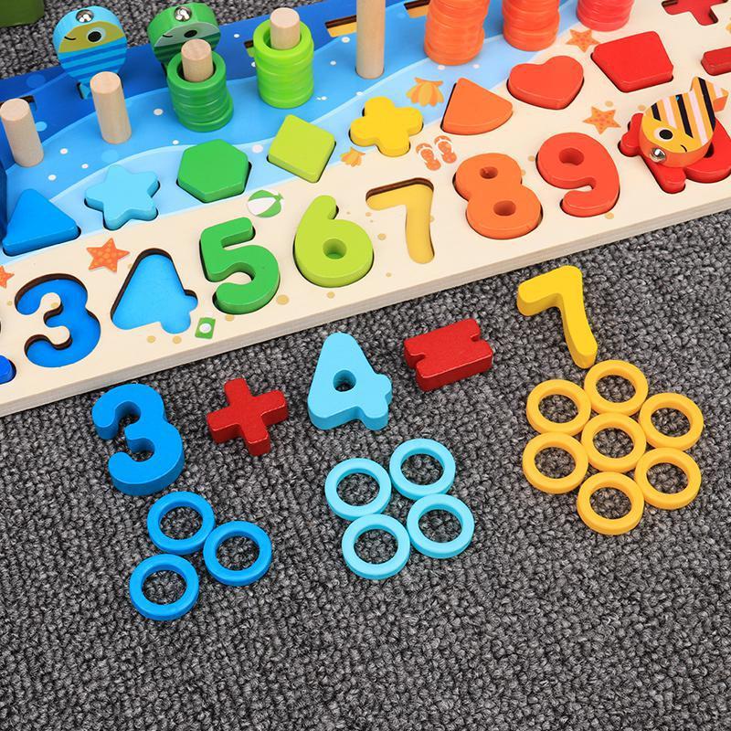 Brinquedos de madeira educacionais montessori para crianças, painel sensorial, matemática, pescaria, brinquedo de contar, geometria, pré-escola 2