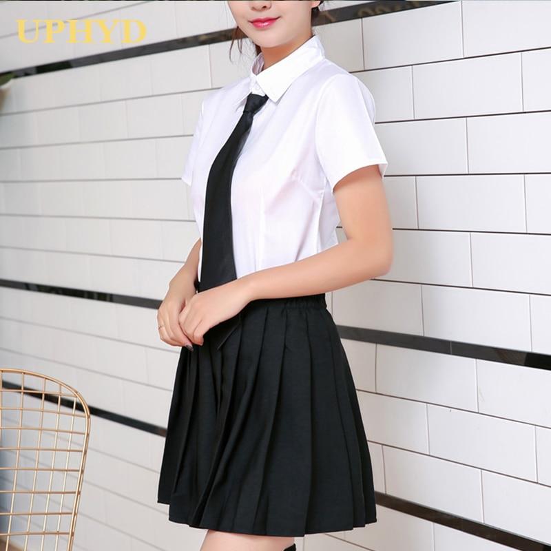 UPHYD School Girl Uniform S-3XL Korea Girls Anime Cosplay Sailor Uniforms Shirt And Skirt With Tie Set