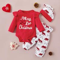 PatPat 2020 New Spring and Autumn 3pcs Baby Girl Christmas Sets for 0 12M Baby Girl Clothing Sets