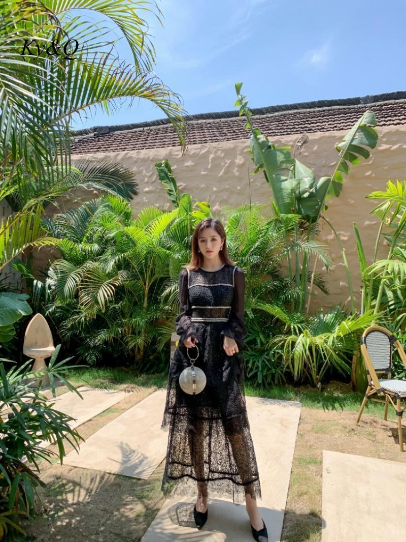 2020 preto marcas designer feminino vintage mangas compridas vestido de renda miçangas bordado vestido floral longo banquete festa longo vestido - 4
