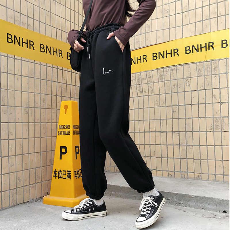 Celana Harem Wanita Kasual Longgar Korea Tebal Celana Olahraga Musim Gugur Musim Dingin Fashion Celana Panjang Baru Femme
