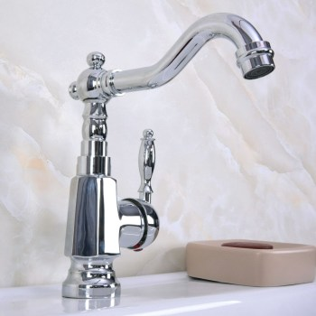 Polished Chrome Brass Single Handle One Hole Bathroom Basin Kitchen Sink Swivel Spout Faucet Mixer Tap mnf926
