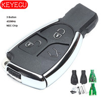 KEYECU Smart Remote Key Fob 3 Button 315Mhz/433MHz NEC for Mercedes Benz 2000 2014 + Uncut Blade