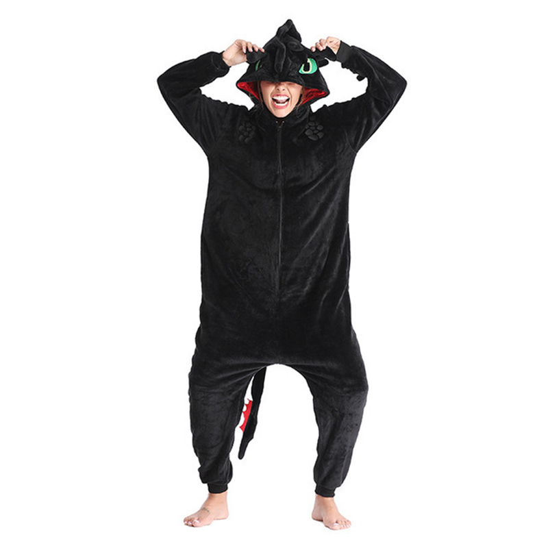 Toothless Dragon Black Onesie Kids Adult Unisex Flannel Pajama Anime Train Your Night Fury Sleepwear Home Wear E46762AC