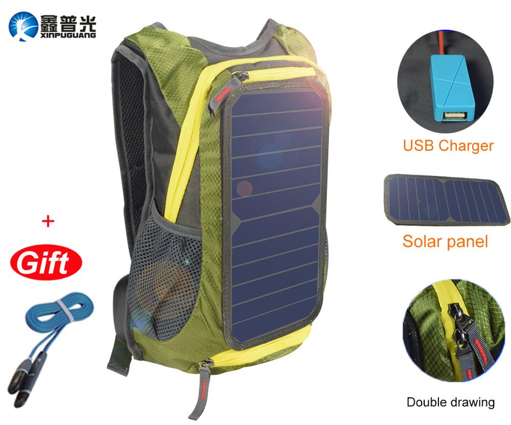 6w 6v usb Dark Green backpack solar panel travel bag powerbank charger for smartphone tablet ipad camping climbing sport hiking