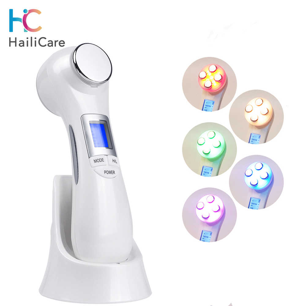 6 In 1 Photon Therapie Radio Frequentie Ems Led Facial Skin Lifting Microstroom Trillingen Gezicht Massager Aanscherping Apparaat