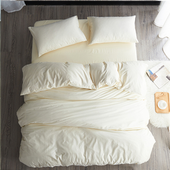 Modern simple style beige blue fitted sheet sabanas cotton solid color 3/4pcs bedding set twin/full/queen size free shipping A
