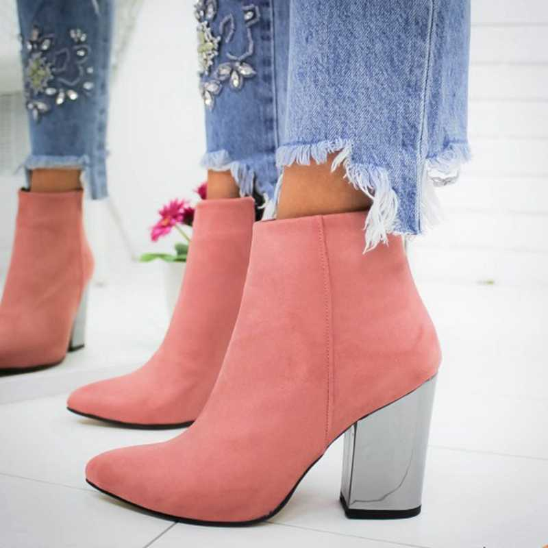 New 2019 Women Shoes Ankle Pumps Flock  Toe Boots Solid Autumn Spring 2019 New High-heeled Shoes Botas Mujer Dropship 35-43