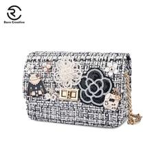 RARE CREATIVE Women's Shoulder Bag Fashion Bags Ladies Luxury Bags 2019 Plaid Wool Messenger Bags High Quality Flap Bags HM6029 цена 2017
