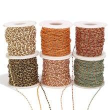 Chaînette or à perles d'émail, chaîne à maillons en acier inoxydable, pour la fabrication de colliers, bracelets de poignet ou cheville, épaisseur 1,5 mm, longueur 2 m