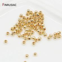 2 мм/2,5 мм/3 мм/4 мм свободные бусины высокое качество латунь металл 14K, покрыто настоящим золотом Круглые Гладкие бусины для ювелирных изделий