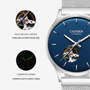 CADISEN New Mens Watches MIYOTA 82S0 Movement Top Brand Luxury Hollow out Automatic Mechanical Business Clock Blue Watch Men 2