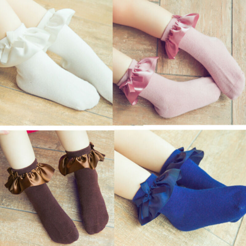 Princess Toddler Kid Girls Solid Socks Ruffles Bow Socks Children Ankle Short Socks White Black Brown Blue 2-8Y