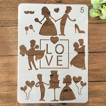 A4 Wedding Love Bride Couple DIY Craft Layering Stencils Painting Scrapbooking Stamping Embossing Album Card Template