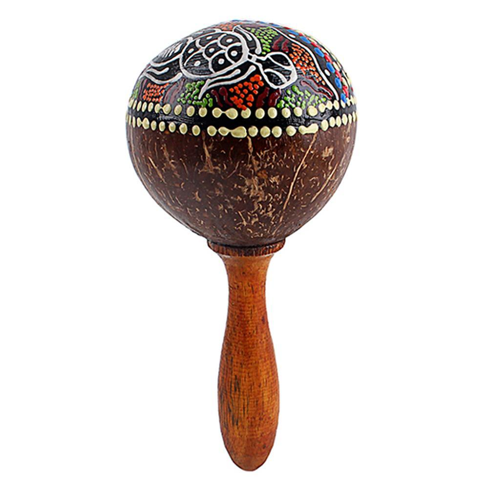 Wholesale Coconut Shell Sand Hammer Shaker Hand Rattle Percussion Musical Instrument Toy Musical Instrument for Boys and Girls