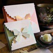 30 шт. вечерние модные подарочные коробки с бантом, милые свадебные коробки для именинного пирога, Подарочная коробка для конфет