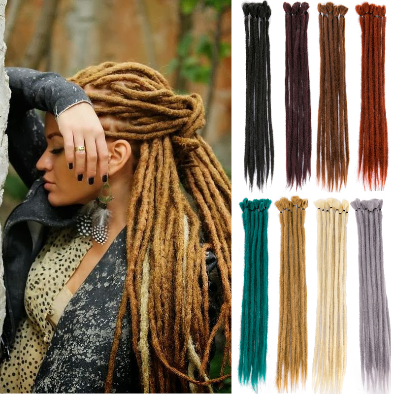 Handmade Dreadlocks Hair Extensions Black Brown Synthetic Hair 1 Strands Expression Braiding Hair  For Women And Men 20 Inch
