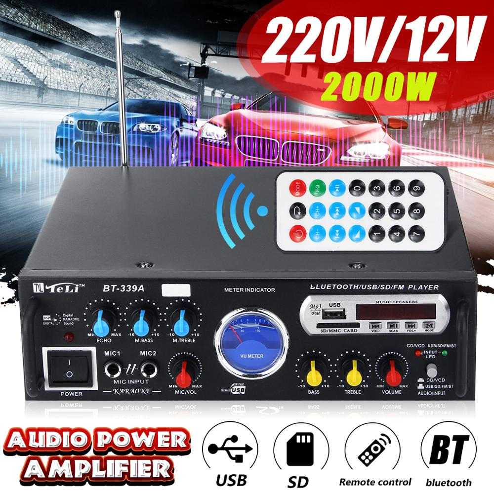 Stereo Amplifier Vu-Meter Bluetooth Hifi 2000W Home Digital Car Theater With 2-Ch USB