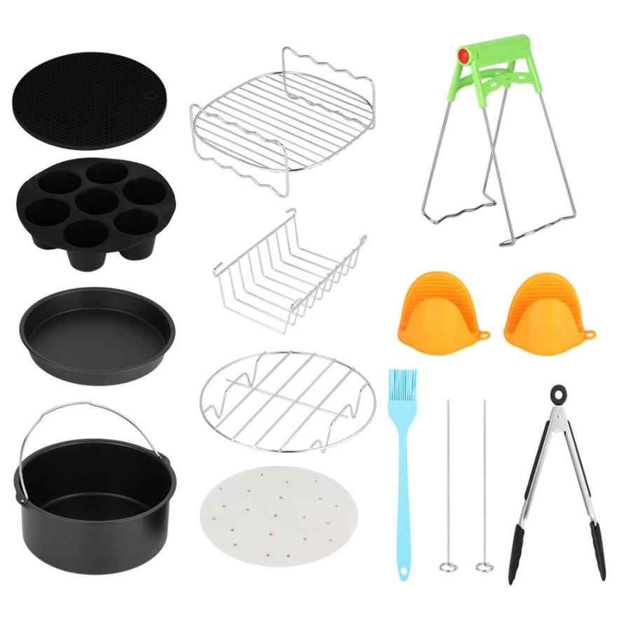 Freidora de aire 7 pulgadas Universal 12 piezas Kits de freidora de aire caliente con accesorios para canastas de pasteles
