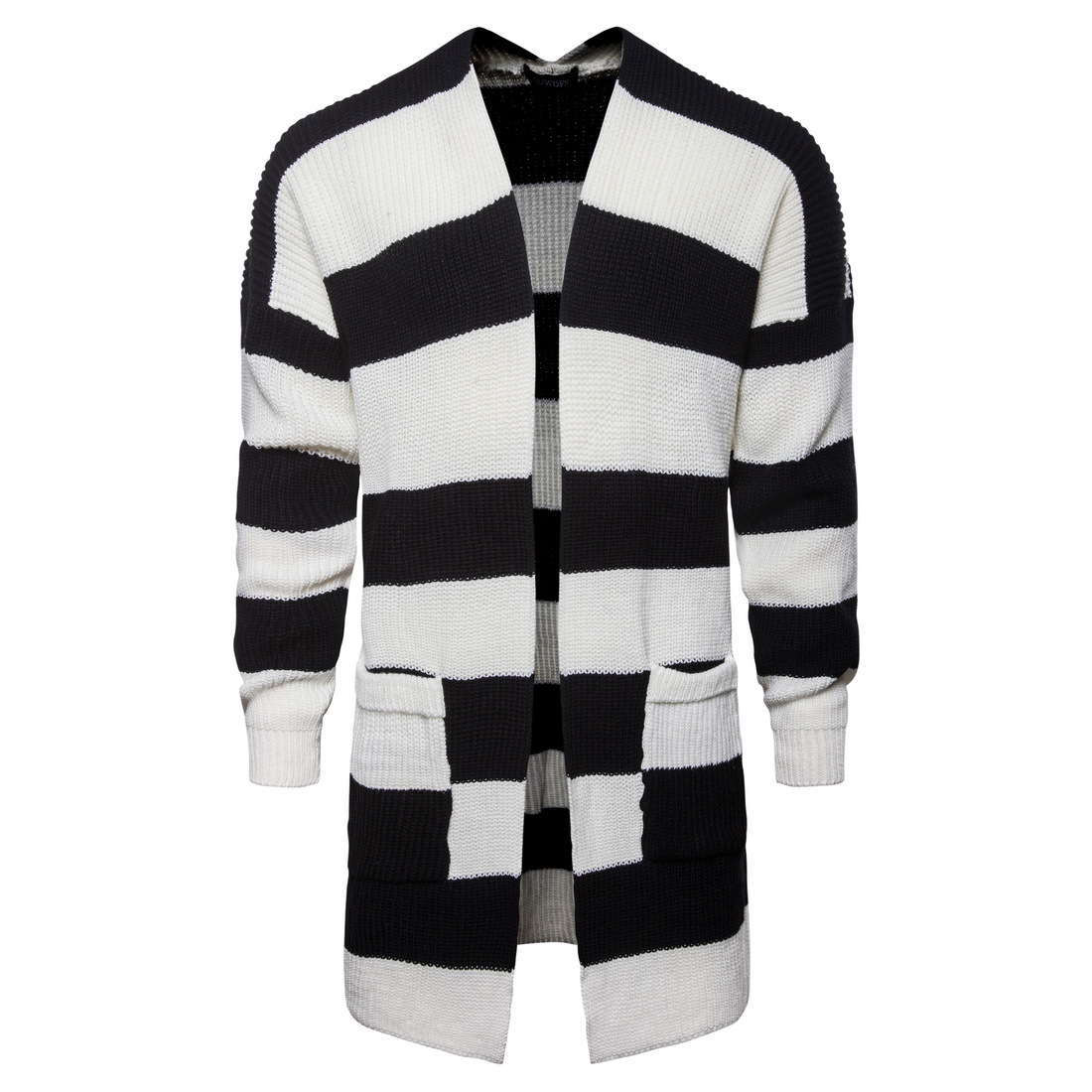 Men's Cotton Cardigan Striped Autumn Winter Warm Perfect Quality Pocket Long Coat Knitted Wool Casual Hombre Sweater Pull Homme