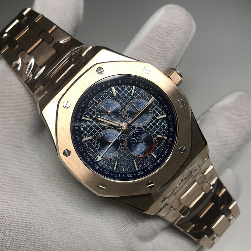2020 New Rose Gold Royal Mens Watch Oaks Luxury Brand Automatic Self-winding Glide Watches All Sub Dials Works Excellent Quality