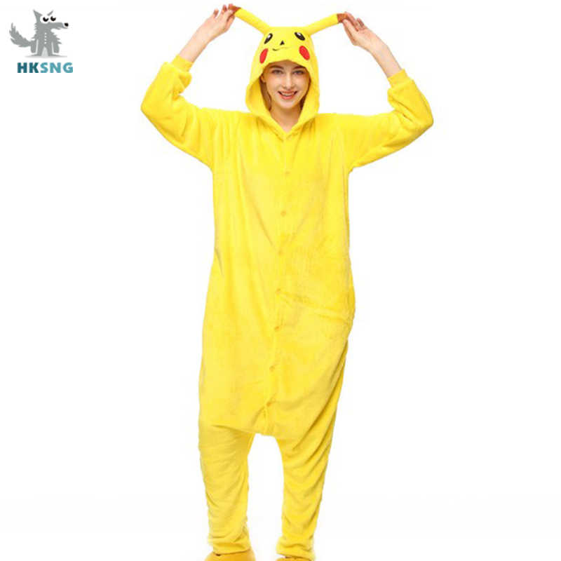 Hksng Volwassen Pikachu Kigurumi Onesie Cartoon Flanel Pyjama Animal Halloween Party Kostuum Jumpsuits Hooded Pyjama Pak