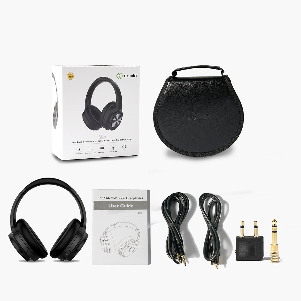 COWIN SE7-MAX Active Noise Cancelling Bluetooth Headphones AptX HiFi Sound Wireless Over Ear ANC Headphones with mic for phones