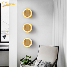Modern Wrought Iron Wall Lamp LED Round Solid Wood Fixtures Wall Lights Loft Restaurant Bathroom Decor Bedside Sconces Lighting