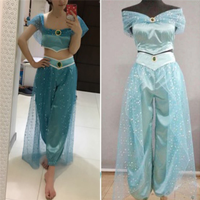 Aladdin Jasmine Princess Cosplay Costume For Women Kid Girl Fancy Dress Up Party Outfits Set