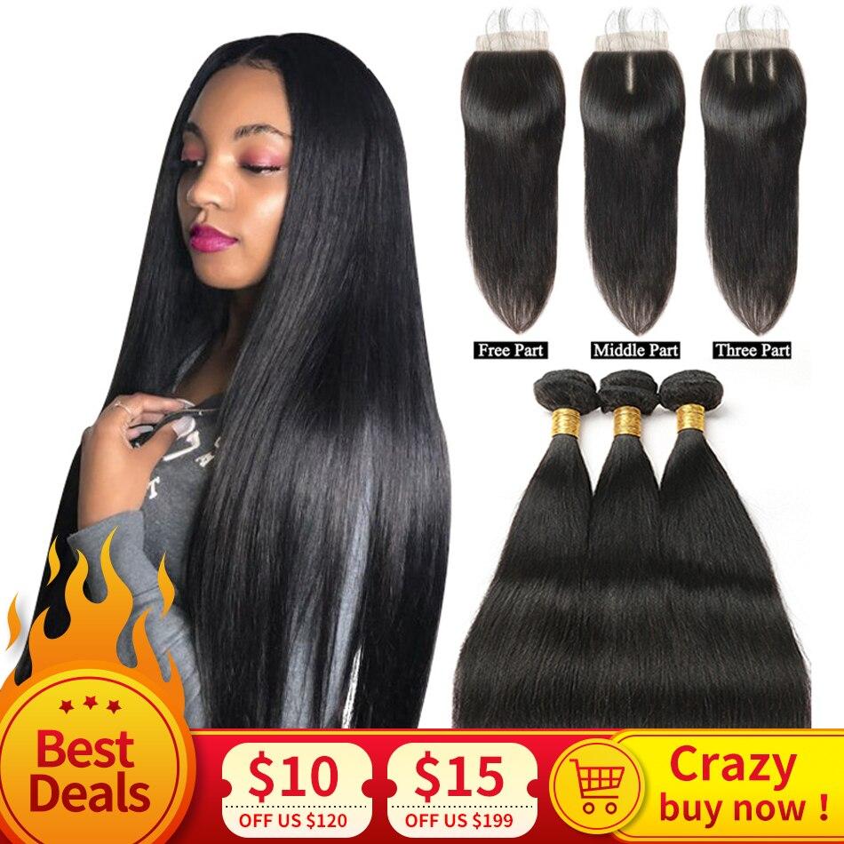 Human Hair Bundles With Closure Straight Hair Bundles With Closure Peruvian Human Hair Bundles With Closure MIHAIR Remy Hair 1B#