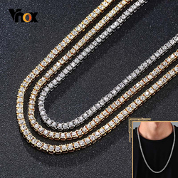 Vnox 5mm Bling Tennis Chain Necklace for Men Women Shiny AAA CZ Zirconia Stones Row Link Punk Hip Hop Gothic Street Jewelry Box