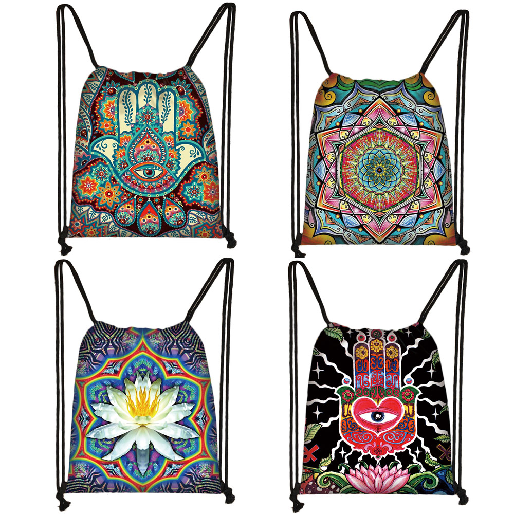 Hamsa Fatima Hand / Mandala / Buddha Lotus Flower Drawstring Bag Women Storage Bag Ladies Shopping Bags Female Travel Backpack