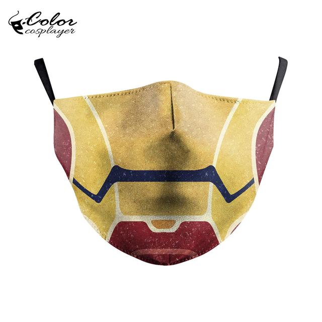 Color Cosplayer Super Hero Print Face Fabric Mask Cosplay Iron Man Masks Anti-fog Mouth Cover Mask Flu