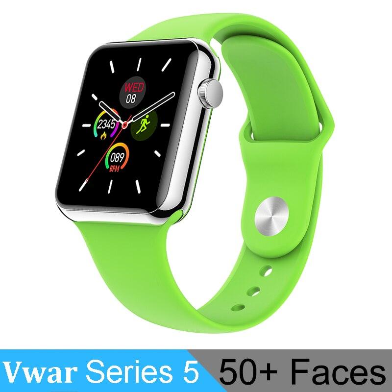 Vwar série 5 montre intelligente 42mm étui pour Apple IOS Xiaomi téléphone moniteur de fréquence cardiaque 50 + visages Smartwatch VS iwo 13 Max T500 IWO12