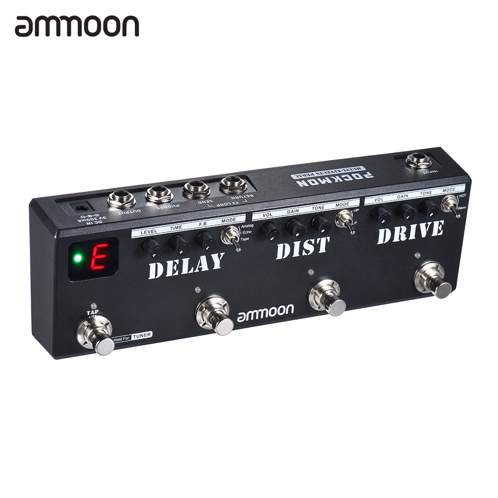 Ammoon POCKMON multieffets bande de pédale avec accordeur retard distorsion accessoires guitare pédale de guitare guitarra