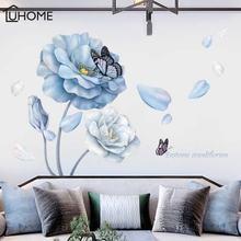 Большой 3d синий цветок украшение для гостиной Бабочка виниловые