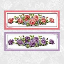 Розовые розы и фиолетовые узоры напечатанные на холсте наборы
