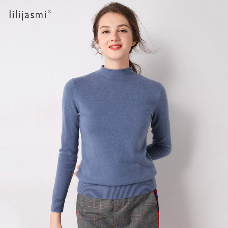 Hot Sale Basic Womens Rolled Hem Half Turtleneck Pullover Sweater 100% Merino Wool 2019 Trend Colors Sweaters Lady Jumpers