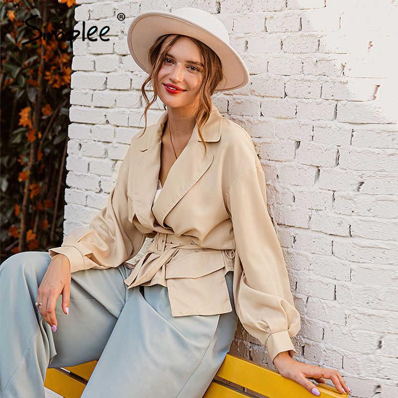 Simpleeランタンスリーブショートジャケットコート女性ノッチvネック秋薄型ジャケット女性ハイウエストベルトポケットオーバーコート2020