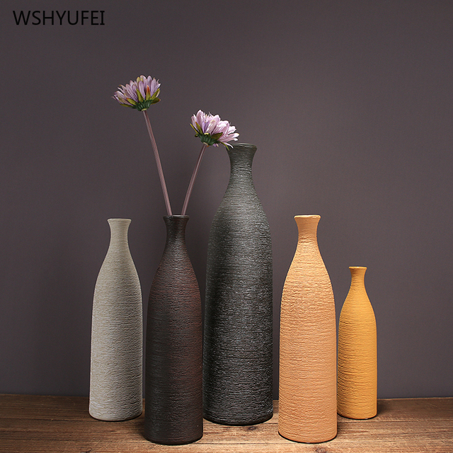 1Pcs Classic line ceramic vase bottom non-slip brown small mouth vase restaurant home countertop floral art decoration ornaments 2