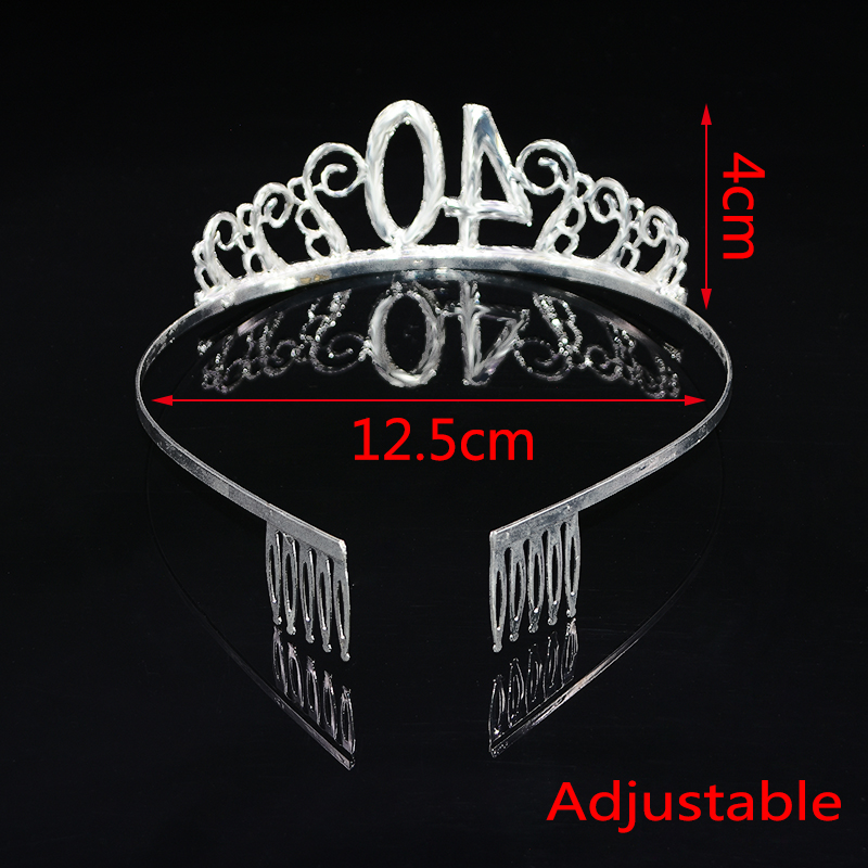 1pc Women Birthday Crown Silver Rhinestone Tiara Crown Headband for 18 21 30 40 50 Year Old Birthday Decoration Hair Accessories-5