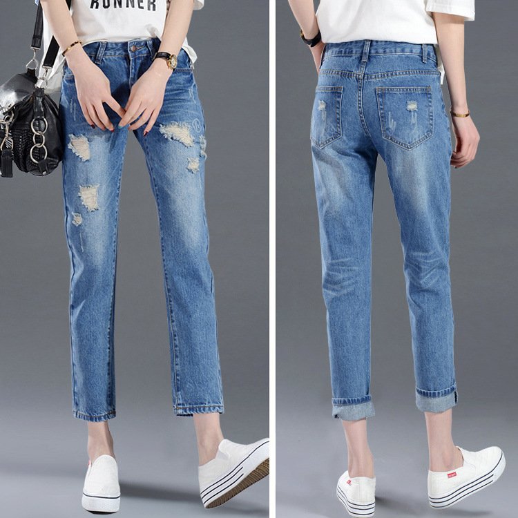 With Holes Capri Jeans Women's Thin 2019 Summer New Style Korean-style Harem Pants Loose-Fit Slimming Straight-Cut Ripped Jeans