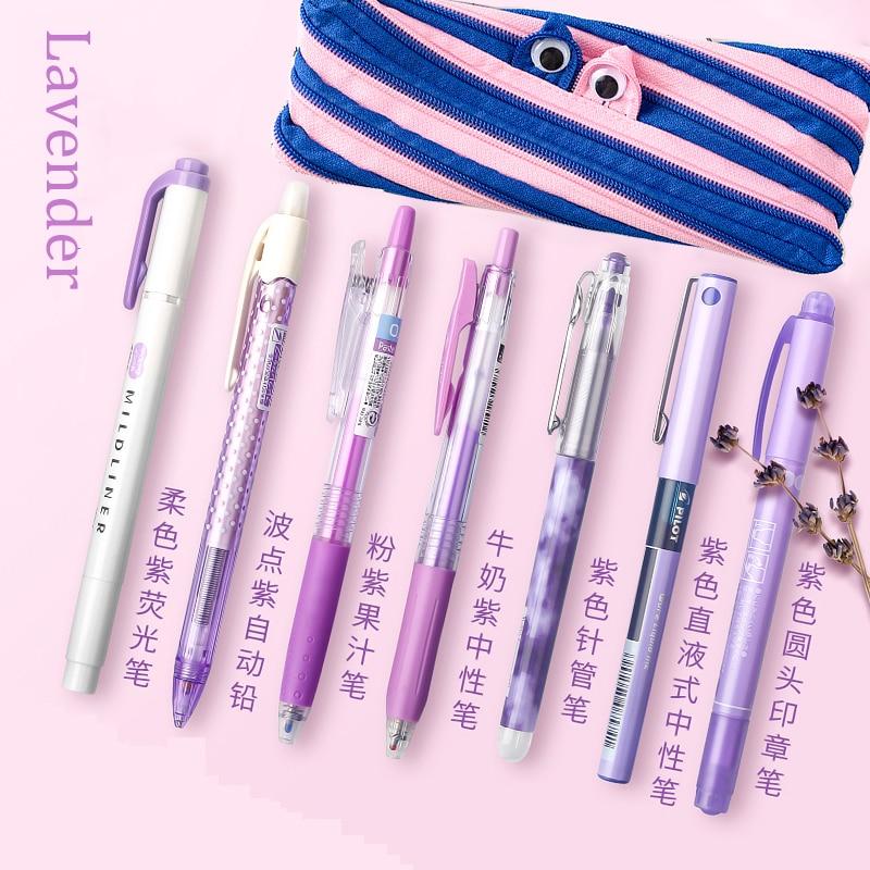 Kawaii Stationery Japanese Erasable Pen Highlighter Colored Pens Set Zebra Mildliner Rose Gold Stationery 0.5mm Kawaii Pen