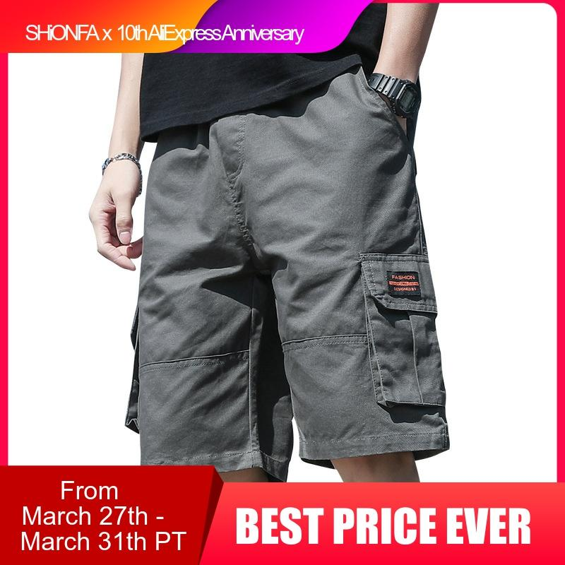 Ins Fashionable Men's Cargo Shorts Loose Drawstring Half Pants Casual Tide Sup Streetwear Big Pocket Cotton Sports Beach Pants