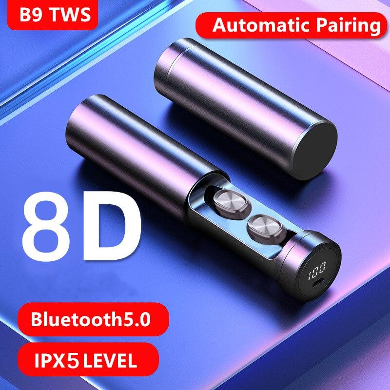Спортивные Bluetooth-наушники B9 TWS, наушники 8D HIFI, беспроводные наушники с микрофоном, игровая Музыкальная гарнитура для Xiaomi, Huawei, Iphone, Airpod 2