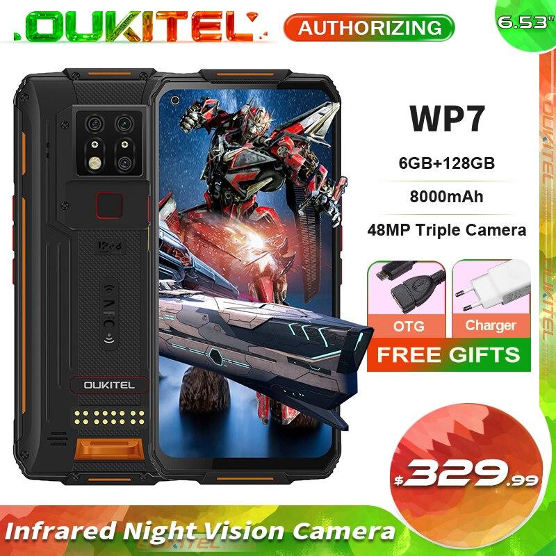 OUKITEL WP7 6 ГБ + 128 Гб 6,53 ''инфракрасный Ночное видение IP68 Водонепроницаемый прочный смартфон 8000 мА/ч, 48MP тройные камеры мобильный телефон