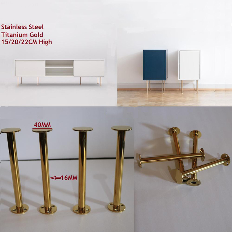 2Pcs Slim Stainless Steel Titanium Gold European Furniture Bathroom Dressing TV Cabinet Coffee Bar Sofa Seat Feet Leg
